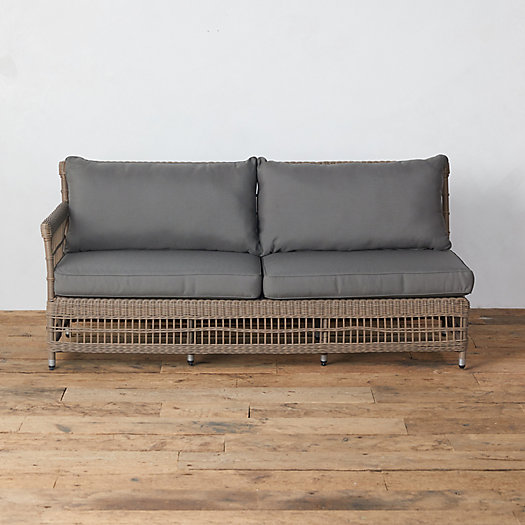 View larger image of Trellis Weave All Weather Wicker Sofa, Left Arm