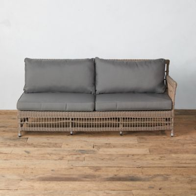 Trellis Weave All Weather Wicker Sofa, Right Arm