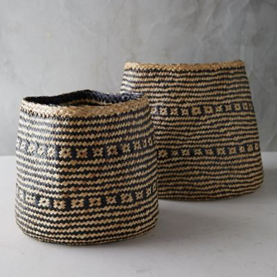 Stripe Seagrass Basket