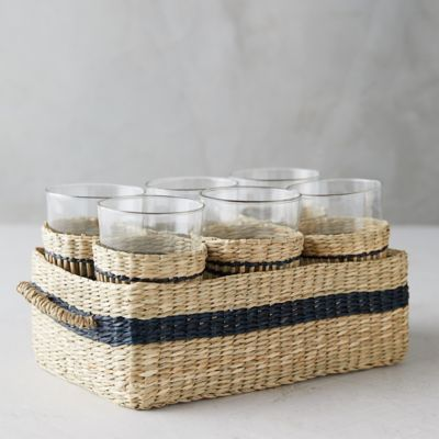 Seagrass Glasses + Caddy