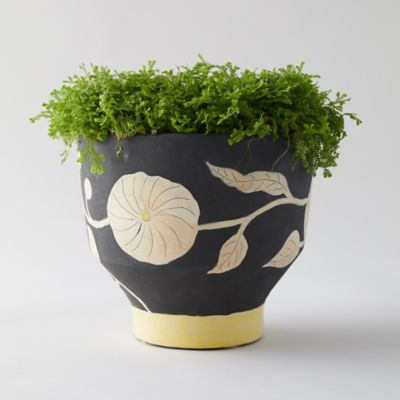 Graphic Florals Footed Pot