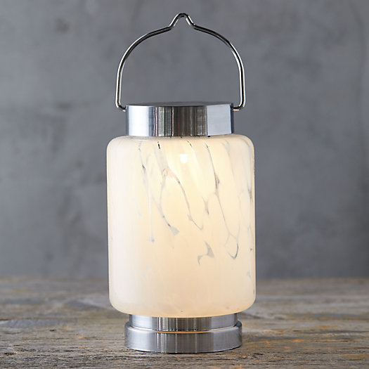 Marbled Glass Solar Lantern, Cylinder by Terrain