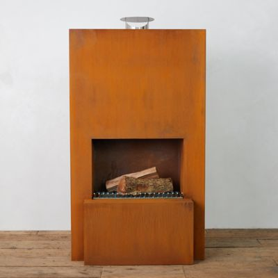 Weathering Steel Planed Fireplace