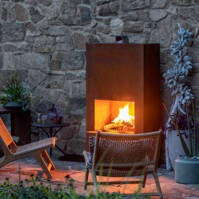 Weathering Steel Planed Outdoor Fireplace