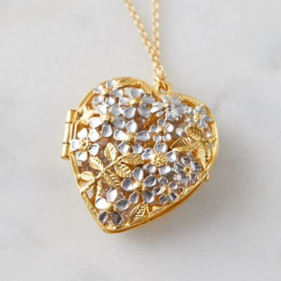 Posy Bee Heart Locket Necklace