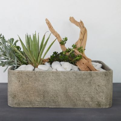 Fiber Concrete Square Planter, Low