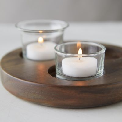 Wood Tea Light Holder Plate, Small