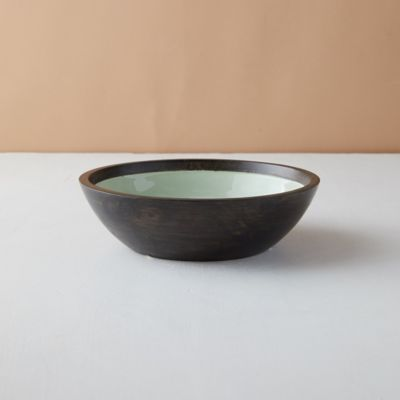 Mango Wood + Enamel Bowl