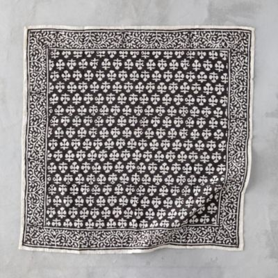 Cotton Botanical Block Print Bandana