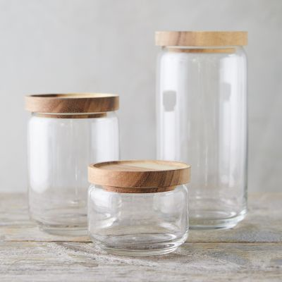 Acacia Wood Top Canister