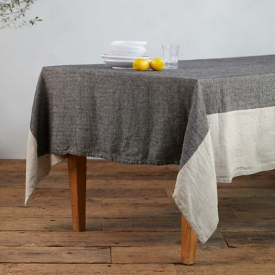 Herringbone Striped Linen Tablecloth