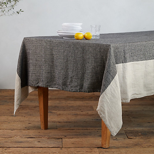View larger image of Herringbone Striped Linen Tablecloth