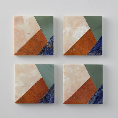 Marble Slice Coaster Set