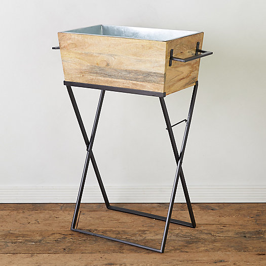 View larger image of Mango Wood + Steel Beverage Tub