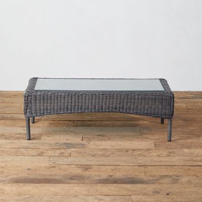Curved Edge Wicker Coffee Table