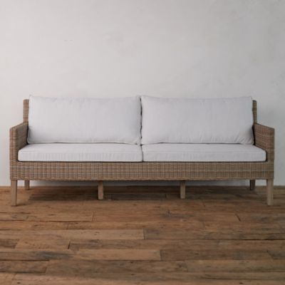 Wicker + Teak Two Seat Sofa