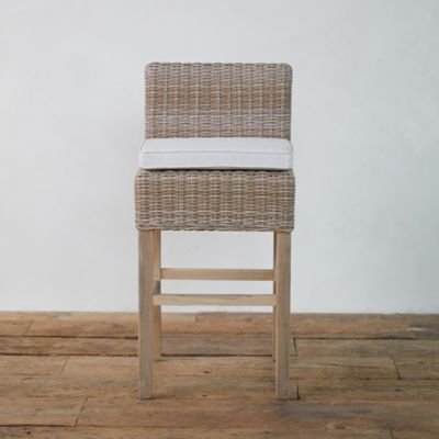 Wicker + Teak Counter Stool