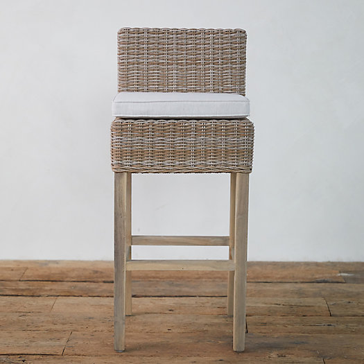 View larger image of Wicker + Teak Bar Stool