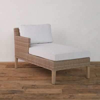 Wicker + Teak Chaise, Left Arm