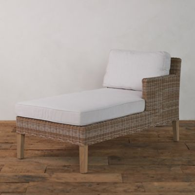 Wicker + Teak Chaise, Right Arm Facing