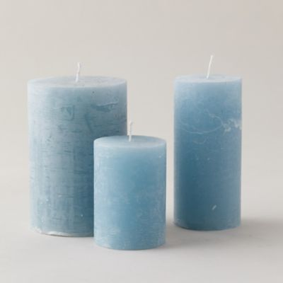 Marbled Color Pillar Candle, Winter Blue