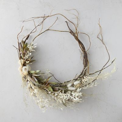 Asymmetrical Bleached Ruscus Wreath
