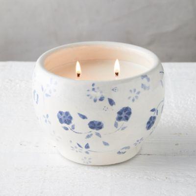 Blue Floral Citronella Candle