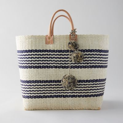 Leather Handle Straw Tote