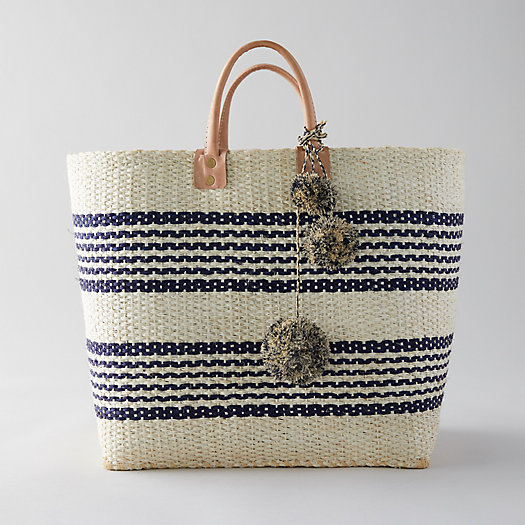 View larger image of Leather Handle Straw Tote