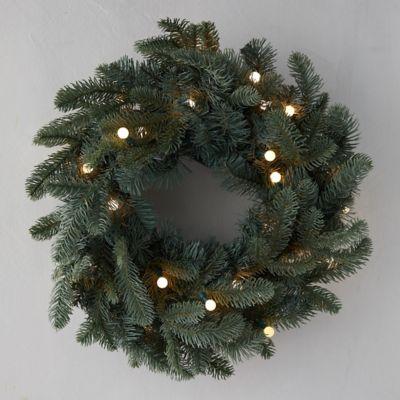 Faux Pre-Lit Bauble LED Evergreen Wreath