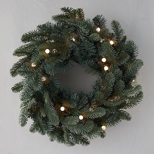 View larger image of Faux Pre-Lit Bauble LED Evergreen Wreath