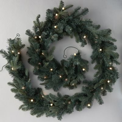 Faux Pre-Lit Bauble LED Evergreen Garland