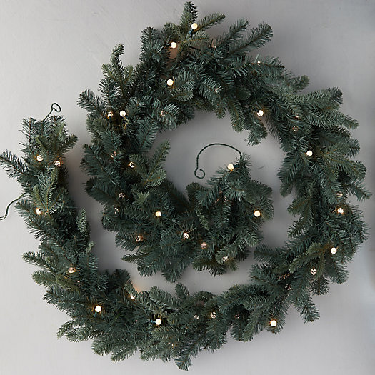 View larger image of Faux Pre-Lit Bauble LED Evergreen Garland