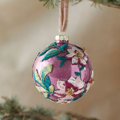 Appliqued Poinsettia Globe Ornament