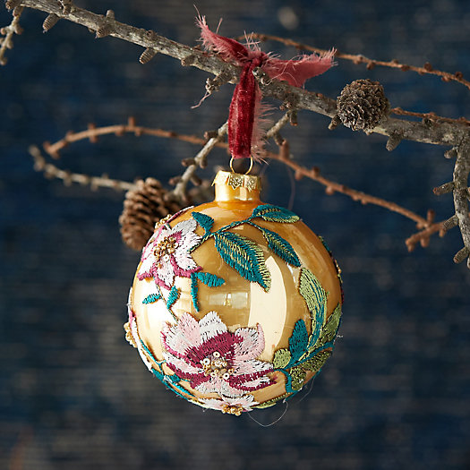 View larger image of Appliqued Poinsettia Globe Ornament