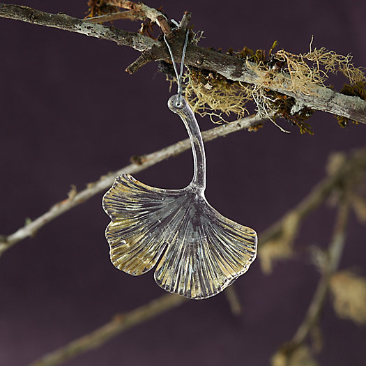 View larger image of Metallic Glass Ginkgo Ornament