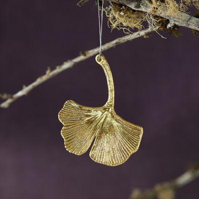 Metallic Glass Ginkgo Ornament