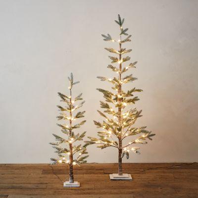 Pre-Lit LED Faux Snowy Pine
