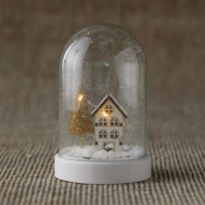 LED Snowy Scene Cloche