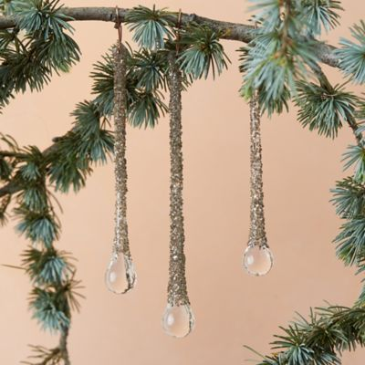 Silver Glitter Drop Ornament Trio
