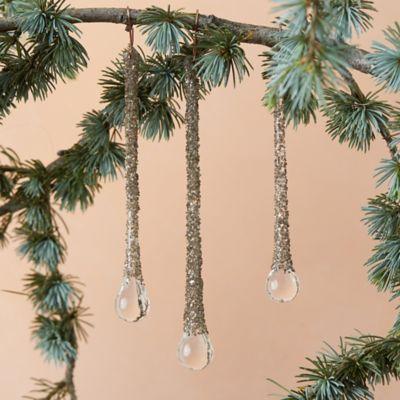 Silver Glitter Drop Ornament Trio