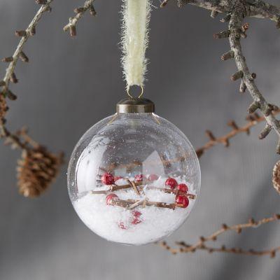 Snowberry Filled Globe Ornament