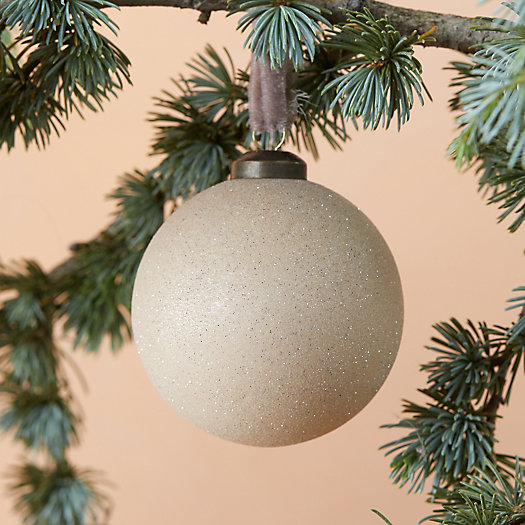 View larger image of Glittering Glass Globe Ornament, Natural