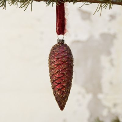 Red Glitter Pinecone Ornament, Small