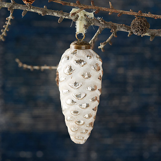 View larger image of White Flocked Pinecone Ornament