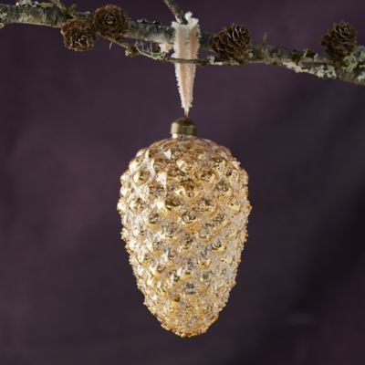 Gold Pinecone Ornament, Medium