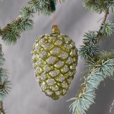 Glitter Pinecone Ornament, Medium