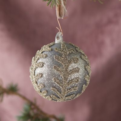 Antiqued Silver Leaf Globe Ornament