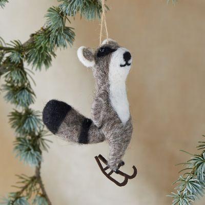 Felt Skating Raccoon Ornament