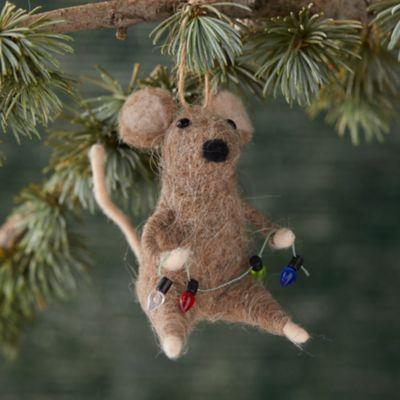 Felt Mouse + Lights Ornament